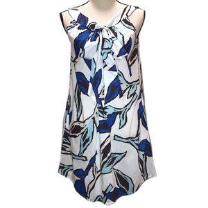 🛑 Zara NWOT White Blue Floral Babydoll Dress Bow